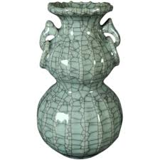 Chinese Celadon Vase Antique Late Qing Chinese Monochrome Crackle Glaze Celadon Vase