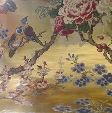 Threshold Aqua Peach Birds Floral Zuberista On Mylar Floral And Birds On Gold Shiny Mylar Myl