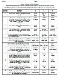 Speed Velocity And Acceleration Worksheet With Answers Speed Velocity And Acceleration Color By Number Activity By