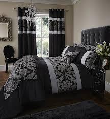 Black Bedding Catherine Lansfield Glamour Jacquard Single Duvet Set Gold