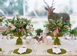 rustic wedding centerpieces tablescape with live moss place