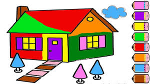 drawing house for learning colors and coloring pages for kids