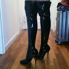 womens leather boots size 12 51 pleaser shoes s size 12 patent leather thigh high