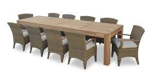 entertainer 3 3m teak outdoor table with 10 kai wicker dining