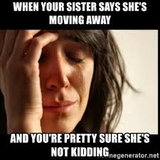 Moving Away Meme - when your sister says she s moving away and you re pretty sure she s