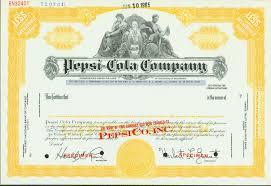 pepsi cola company stock certificate 1965 original stock
