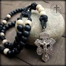 white rosary salvation rosary in black and white strong paracord rosary