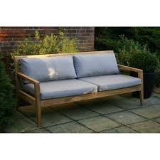 Teak Benches Menton Luxury Teak Sofa Bench With Grey Cushions Garden