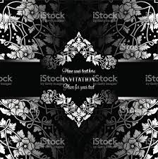 Black And White Invitation Card Floral Invitation Card With Antique Luxury Black And Silver