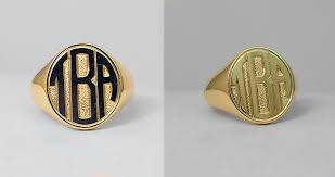 Monogram Gold Ring Block Style Monogram Hand Engraving On The Gold Signet Ring