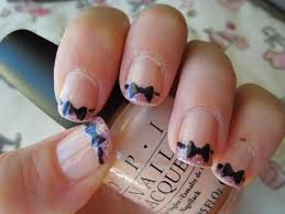 black french tips nails with bow designs nailed obsession bow