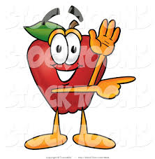 stock cartoon of a helpful red apple character mascot waving and