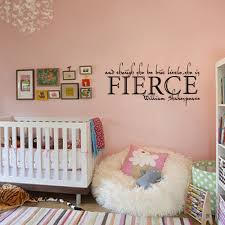 online get cheap wall decals she is fierce aliexpress com shakespeare wall quote and though she be but little she is fierce girls nursery room wall decal vinyl sticker 22