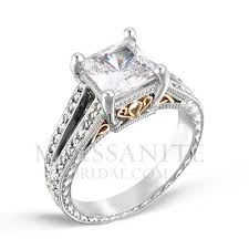 two engagement ring two tone square brilliant moissanite engagement ring