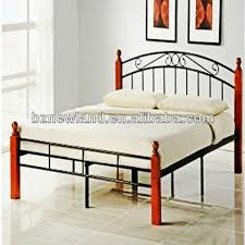 cheap wooden poster metal steel double bed furniture modern iron