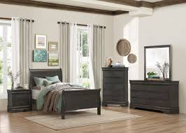 sleigh bed bedroom set 2147tsg 1 4p louis phillippe grey wood kid twin sleigh bed bedroom set