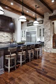 farmhouse rustic kitchen design ideas features exposed bricks