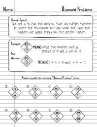factoring trinomials using math diamond problems worksheet algebra