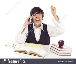 Student At Desk by Education Excited Mixed Race Female Student On Cell Phone Cheers