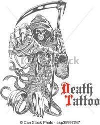 eps vector of grim reaper sketch with skeleton in cape terrible
