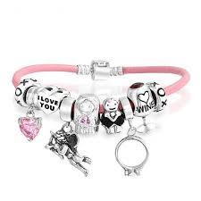 pink heart bracelet images 925 silver wedding wine pink heart charm bracelet jpg
