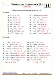 Algebra Worksheets And Answers Factorising Worksheets With Answers Math Algebra And Worksheets