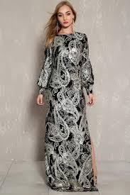 black gold side slit long sleeve maxi formal dress