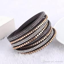 rhinestone leather wrap bracelet images Multilayer wrap bracelets rhinestone diamond crystal leather jpg