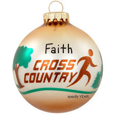 personalized cross country glass ornament hobbies