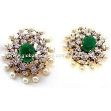 big stud earrings party wear big green color cz pearl stud earrings global sources