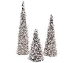 set of 3 glittering graduated decorative trees page 1 qvc
