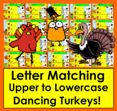 boom cards thanksgiving alphabet letter match uppercase to