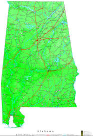 Map Of Al Alabama Contour Map