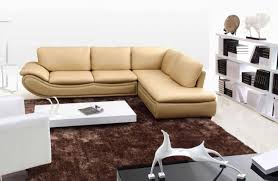 luxury style living room area with brown leather l shaped small