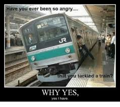 Train Meme - have you ever been so angry hat you tackled a train why yes yes i