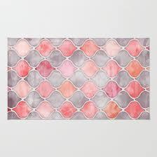 rhythm of the seasons coral pink u0026 grey rug by micklyn society6