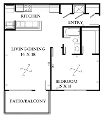 Small One Bedroom House Plans Simple Apartment One Bedroom Floor Plans With Hall 1275x1182