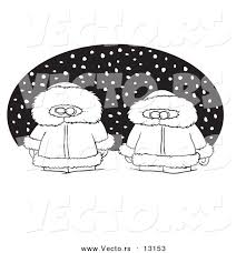 oval coloring page vector of a cartoon two alaskans in the snow over a black oval