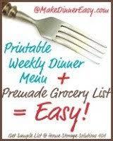 printable weekly menu planner template plus grocery list