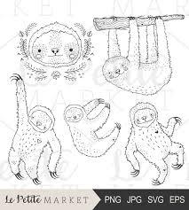 hand drawn sloth clip art cute sloth clipart cute sloth digital