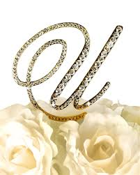 rhinestone monogram cake topper collection rhinestone monogram cake topper in gold letter u