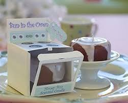 unique baby shower favors unique baby shower favors ideas brown white candle bun in the oven
