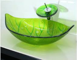 green glass vessel bathroom sinks green leaf shaped glass handcraft bathroom vanity wash basin