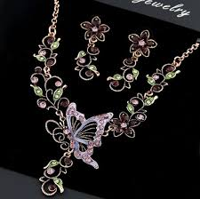 pink rhinestone necklace images Wholesale purple pink rhinestone butterfly necklace earrings set jpg