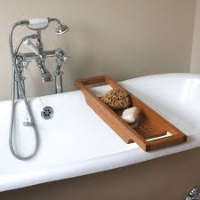 Teak Tub Caddy Articles With Wood Bath Caddy With Wine Holder Tag Compact Wood
