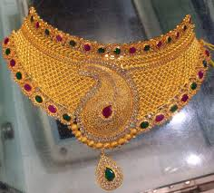 gold choker necklace sets images Jewellery designs gold choker necklace set with rubies jpg