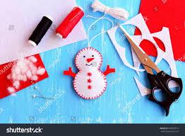fun felt christmas snowman ornament scissors stock photo 478599514