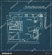 architectural hand drawn floor plan blueprint stock vector