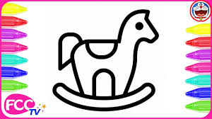 how to color u0026 learn how to draw rocking horse for baby coloring