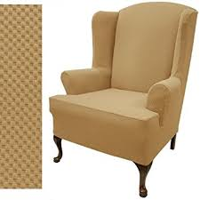 wing chair slipcover amazon com wing chair slipcover stretch pique gold nugget 709 home
